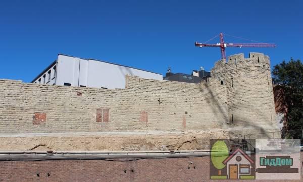 (Overblijfselen van de [[eerste omwalling van Brussel]] (muur + toren))